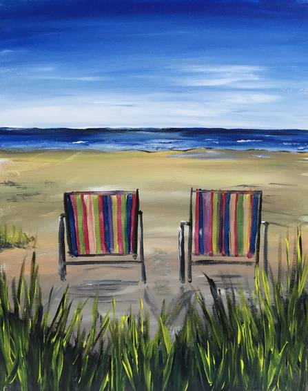 A Beach Chairs paint nite project by Yaymaker