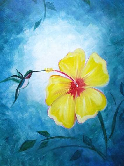 A Hibiscus and Hummingbird paint nite project by Yaymaker