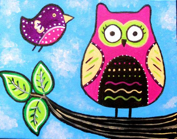 A Owl and Birdie Friends paint nite project by Yaymaker