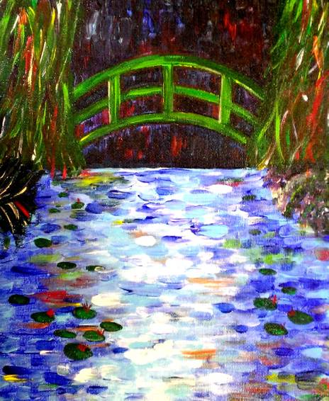 A Moonlit Bridge over Lily Pond paint nite project by Yaymaker