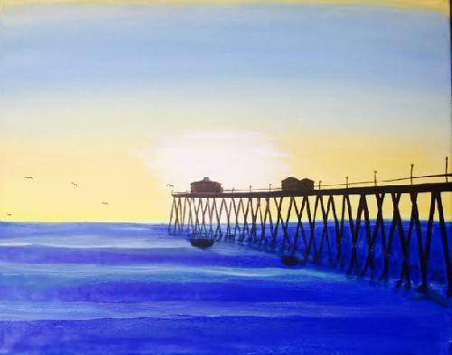A Huntington Beach Sunset paint nite project by Yaymaker