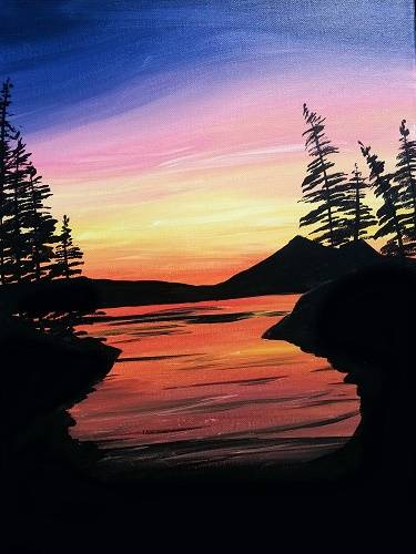 A Dark Waters at Sunset paint nite project by Yaymaker
