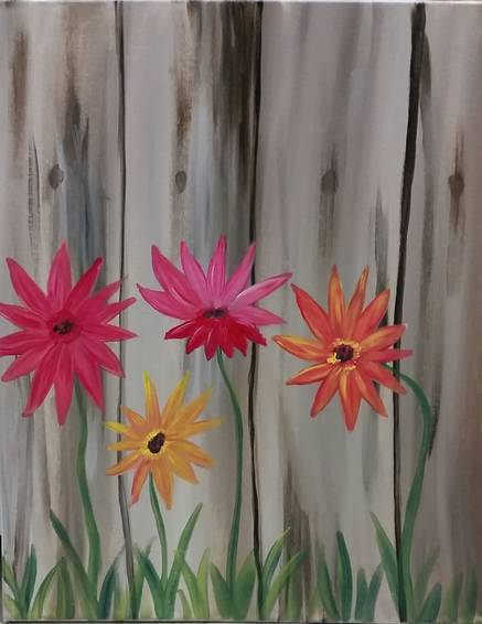 A Daisies and a Fence paint nite project by Yaymaker