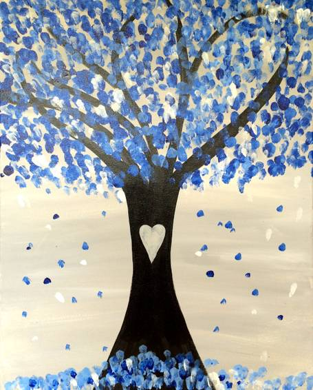 A Blueberry Blossoms paint nite project by Yaymaker