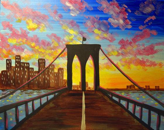 A Brooklyn Sunset paint nite project by Yaymaker