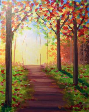 A Sunny Autumn Path paint nite project by Yaymaker