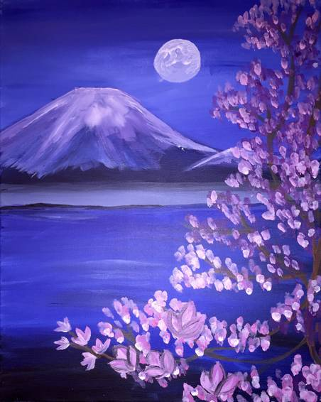 A Moon of Mount Fugi paint nite project by Yaymaker