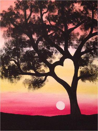 A Sunset Heart Tree paint nite project by Yaymaker