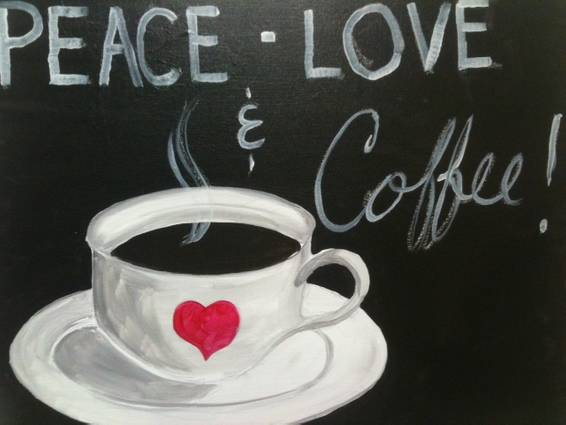 A Peace Love  Coffee paint nite project by Yaymaker
