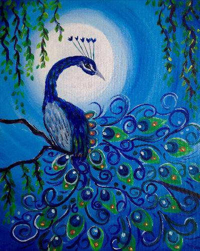 A Moonlit Peacock paint nite project by Yaymaker