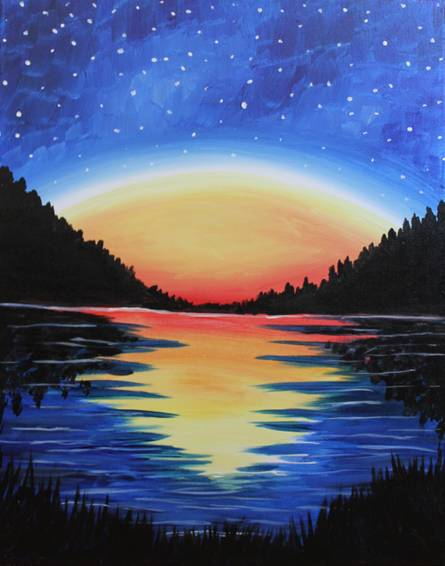 A High Peaks Starry Night paint nite project by Yaymaker