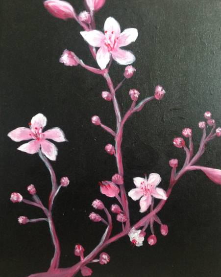 A Evening Cherry Blossoms paint nite project by Yaymaker