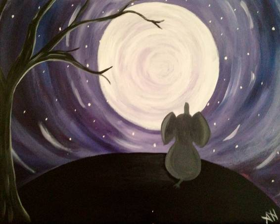 A Elephant in the Moonlight paint nite project by Yaymaker