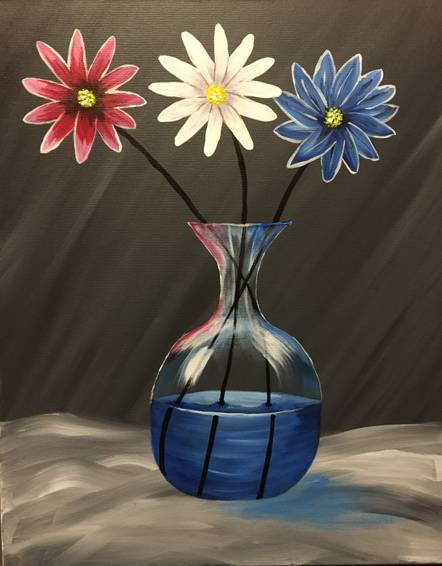 A Red White and Blue Daisies paint nite project by Yaymaker
