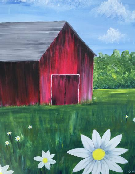 A Red Barn Daisies 2 paint nite project by Yaymaker