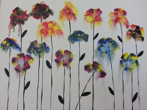 A Colorful Water Flowers paint nite project by Yaymaker