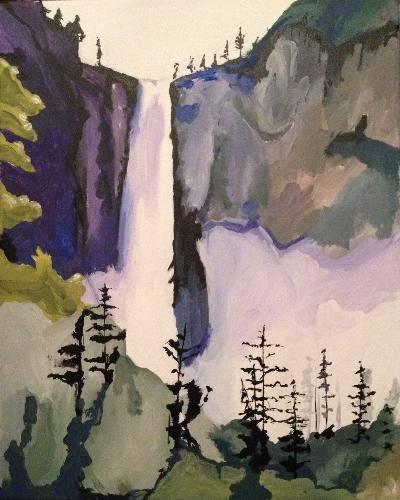 A Yosemite Falls paint nite project by Yaymaker