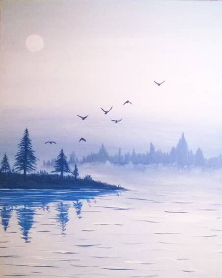 A Misty Waters paint nite project by Yaymaker