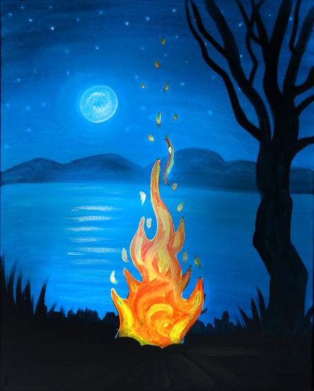 A Lakeside Campfire paint nite project by Yaymaker