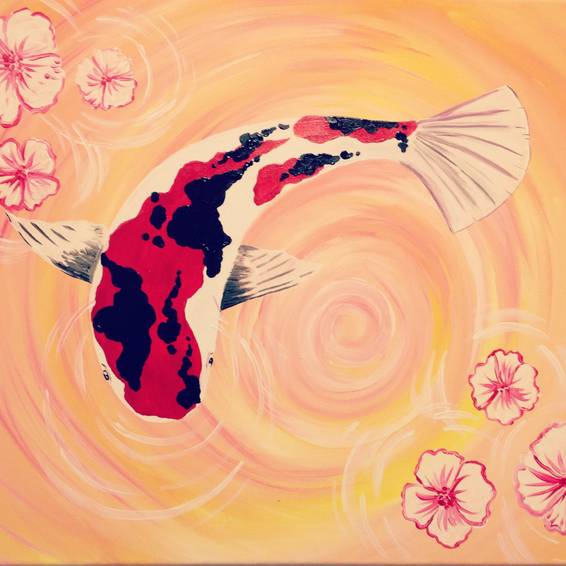 A Serene Koi paint nite project by Yaymaker