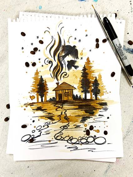 A Coffee and sharpie cabin in the woods  Virtual Event experience project by Yaymaker