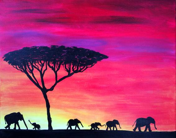 A Elephants On Parade paint nite project by Yaymaker