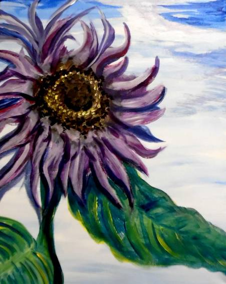 A Van Goghs Lavender Sunflower Morning paint nite project by Yaymaker