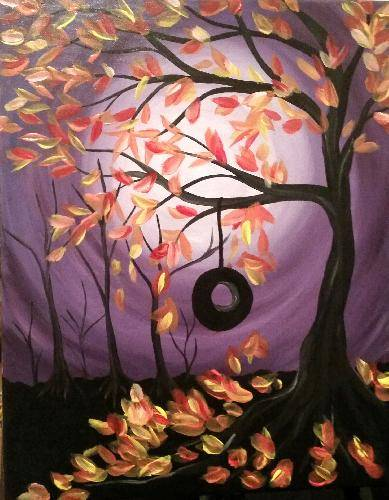 A Autumn Swing in the Park paint nite project by Yaymaker
