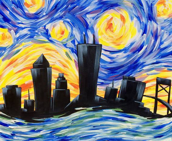 A Starry River City paint nite project by Yaymaker