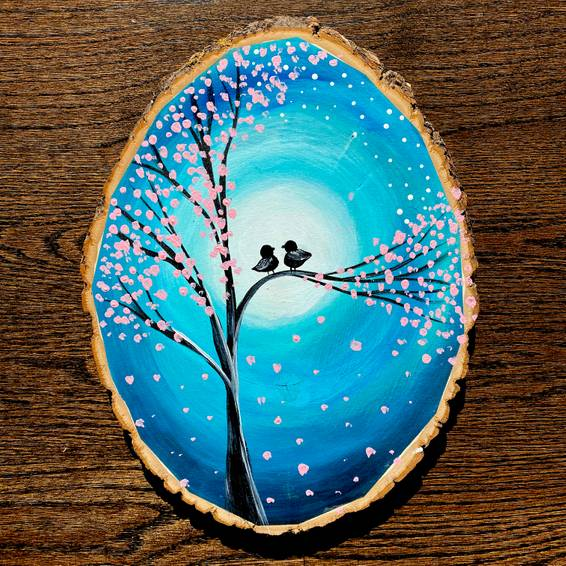 A Family Love Birds in The Cherry Blossom Tree Rustic Wood Slice experience project by Yaymaker