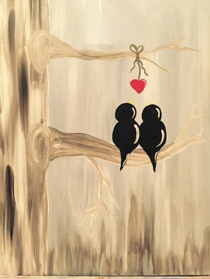 A Two Birds One Heart paint nite project by Yaymaker