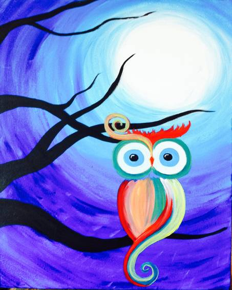 A Hoo Goes There paint nite project by Yaymaker