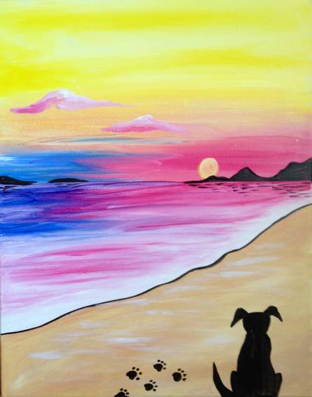 A Doggie Sunset paint nite project by Yaymaker