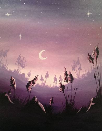 A Lavender Moonrise paint nite project by Yaymaker