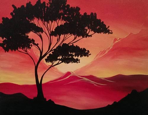 A Safari Mountain Sunset paint nite project by Yaymaker