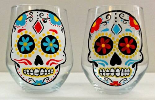 A Custom Calavera Sugar Skull paint nite project by Yaymaker