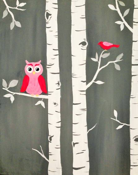 A Owl Birch You Think Im Cute paint nite project by Yaymaker