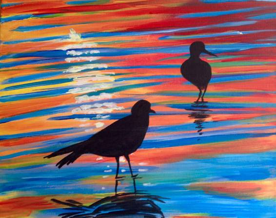 A Sunset in Oceanside paint nite project by Yaymaker