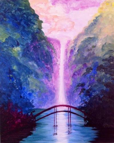 A Dreamy Waterfall paint nite project by Yaymaker