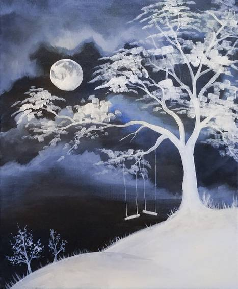 A Moon Swings paint nite project by Yaymaker