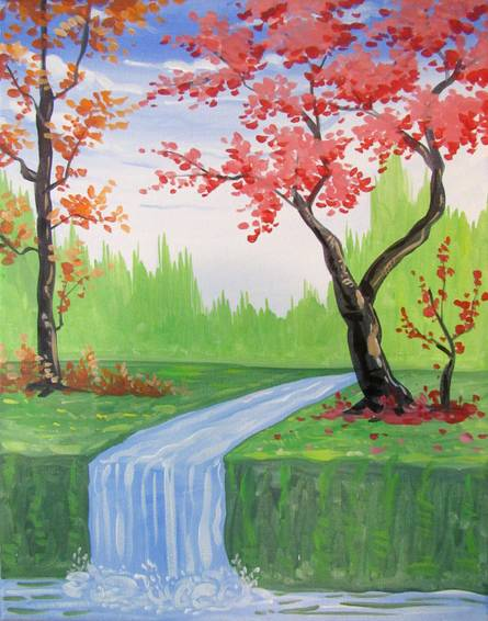 A Blossoming Waterfall Stream paint nite project by Yaymaker