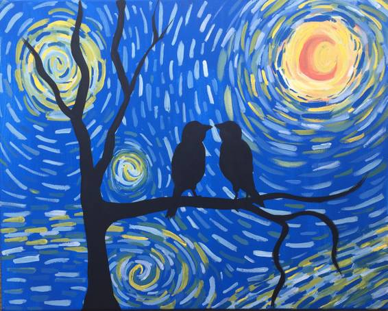 A Starry Night Love Birds paint nite project by Yaymaker