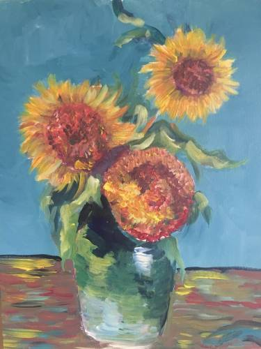 A Vincents Sunflowers paint nite project by Yaymaker