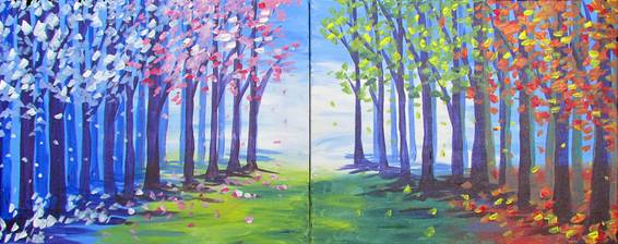 A Path of Seasons PARTNER PAINTING paint nite project by Yaymaker