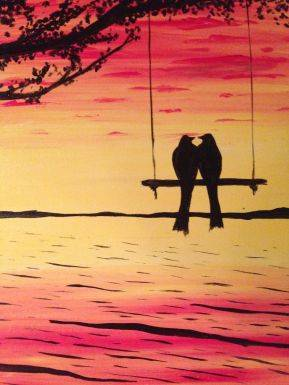 A Swing into Love paint nite project by Yaymaker