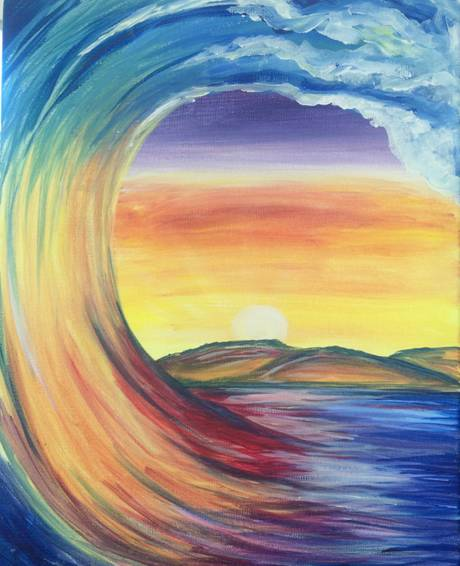 A Golden Wave paint nite project by Yaymaker