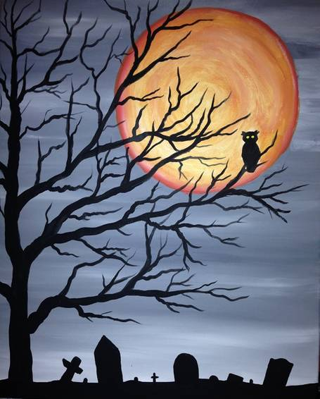 A Spooky Tree Owl paint nite project by Yaymaker