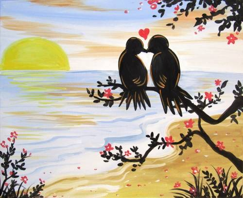 A Love Birds on the Beach paint nite project by Yaymaker