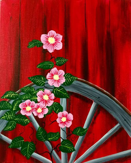 A Barnyard Flowers paint nite project by Yaymaker