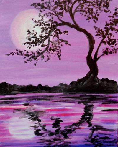 A Lavender Moonlit Silhouette paint nite project by Yaymaker